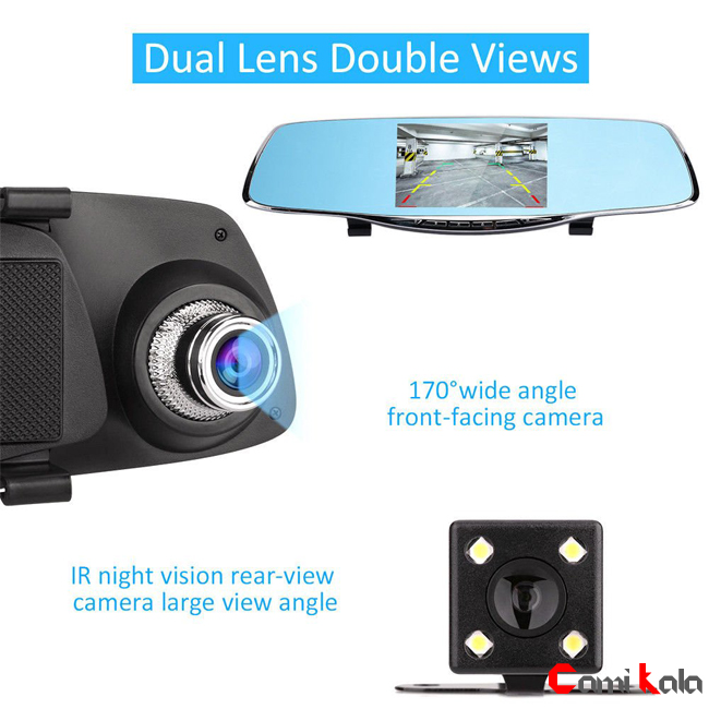 آینه مانیتور دو دوربین 5 اینچی Car Mirror Monitor DVR ، مانیتور آیینه ای دو دوربین 5 اینچی ، DVR آیینه ای 5 اینچی دو دوربین ، مانیتور آیینه ای 5 اینچی دو دوربین در کامی کالا ، کامی کالا ، مانیتور آیینه ای