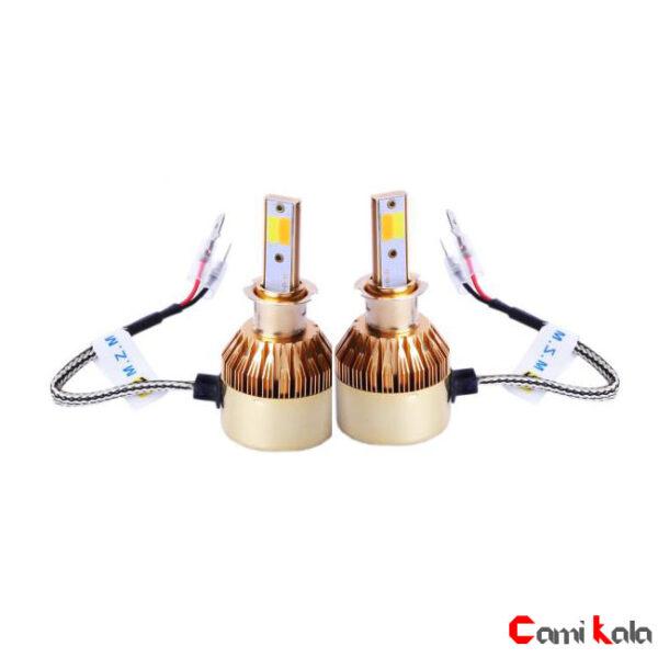 هدلایت دو رنگ طلایی Car HeadLight LED C6