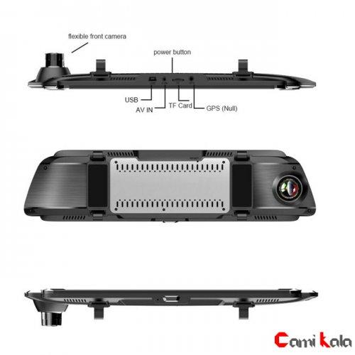 دوربین فیلمبرداری خودرو, مانیتور آیینه ای دو دوربین خودرو,دوربین ثبت وقایع خودرو,مانیتور دو دوربین خودرو,دوربین مدار بسته خودرو,جعبه سیاه خودرو,دوربین فیلمبرداری خودرو آیینه ای 10 اینچی Car DVR Mirror